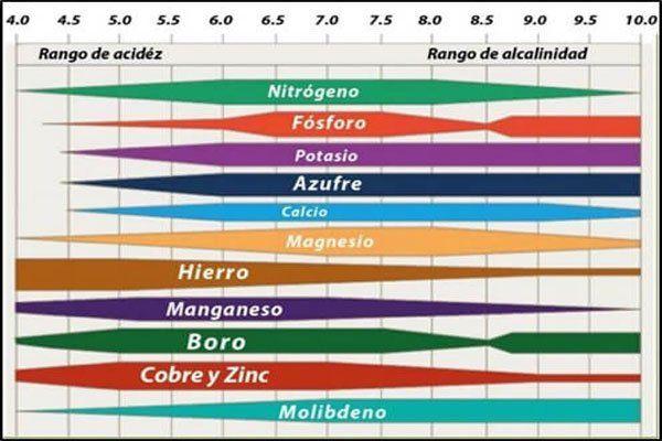 ph del suelo - Valores de asimilación de nutrientes.