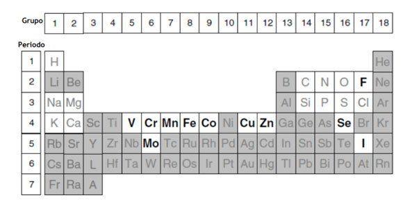 Tabla periódica que incluye el manganeso.